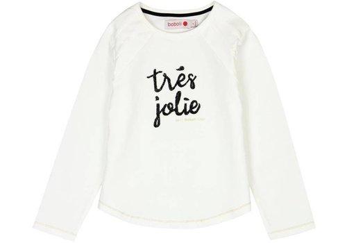 "Boboli shirt wit ""tres jolie"""