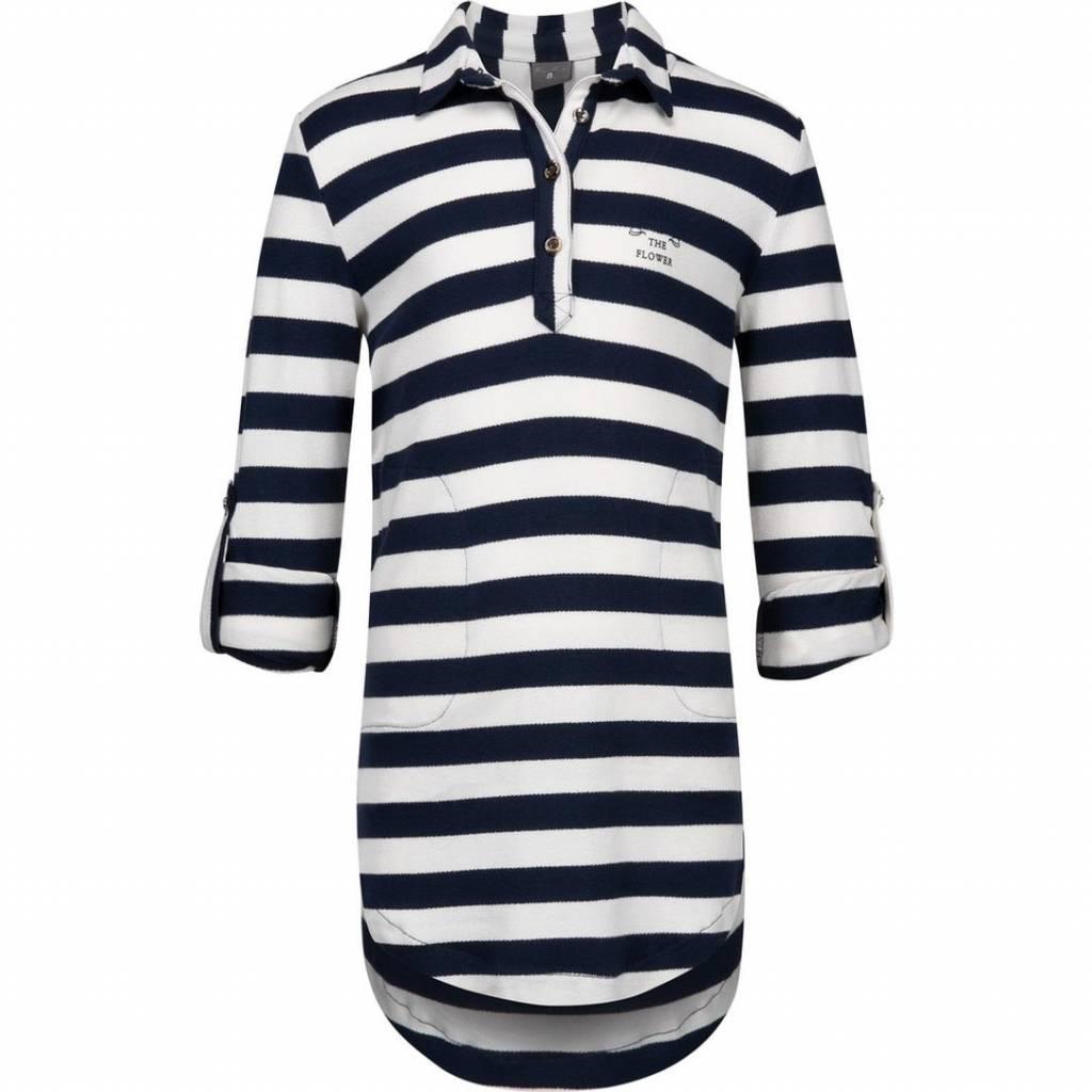 39e6fe4cc28eb7 Baker Bridge jurk blauw wit gestreept met kraag - DressedKid
