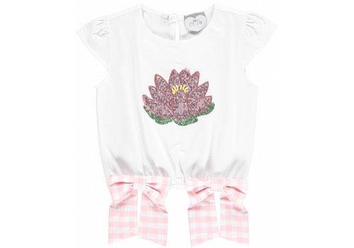 ADee shirt wit met bloem en 2 strikken