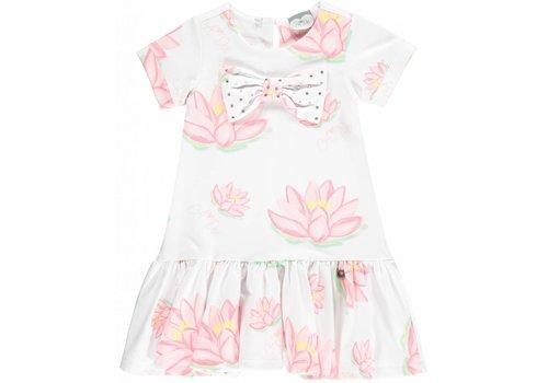 ADee jurk wit met roze waterlelies