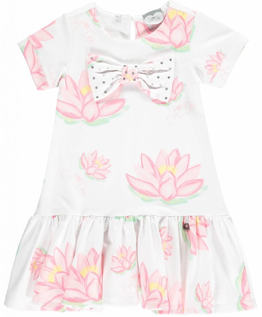 14803d5b4fe565 ADee jurk wit met roze waterlelies