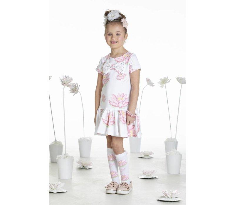 jurk wit met roze waterlelies
