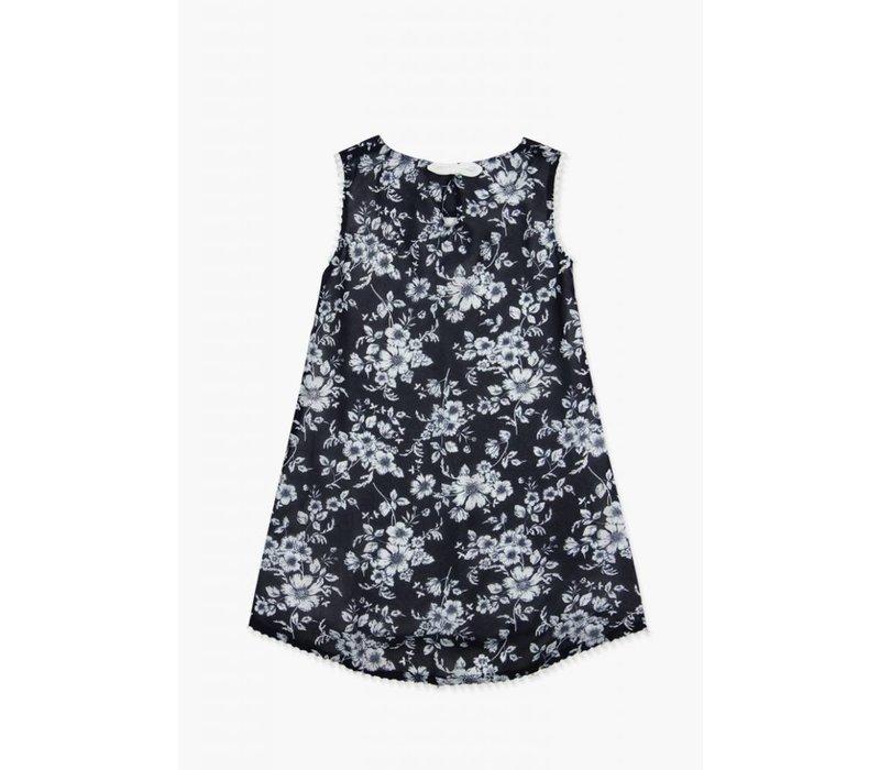 jurk blauw met witte bloemen