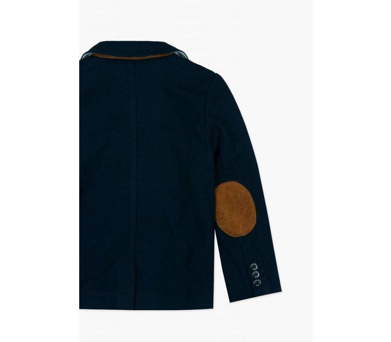 colbert jasje blauw met elleboogstukken
