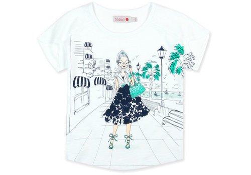 Boboli shirt wit met print blauw met groen