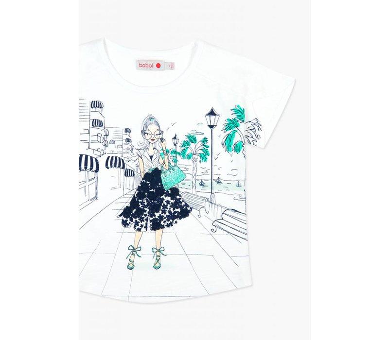 shirt wit met print blauw met groen