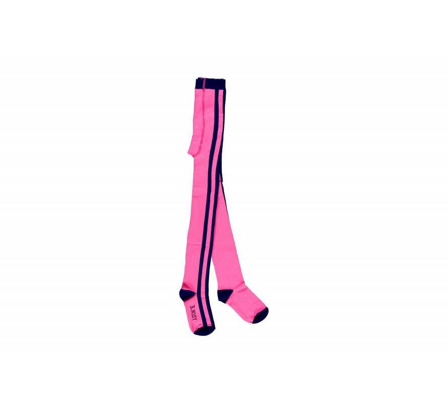 Y808-5051 tights met streep neon magenta