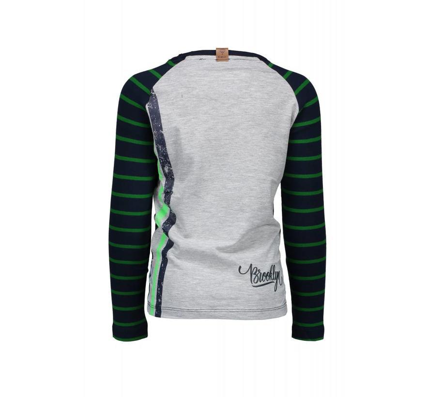 Y808-6411 shirt Stripe AO Peacock