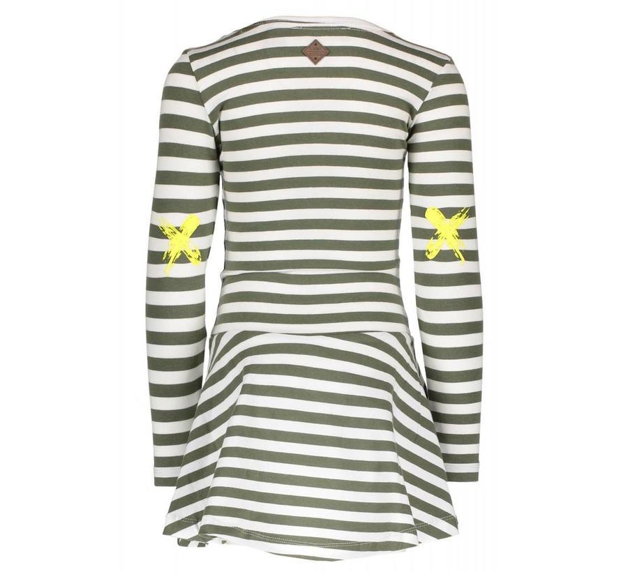 Y809-5883 936 jurk stripe crocodile