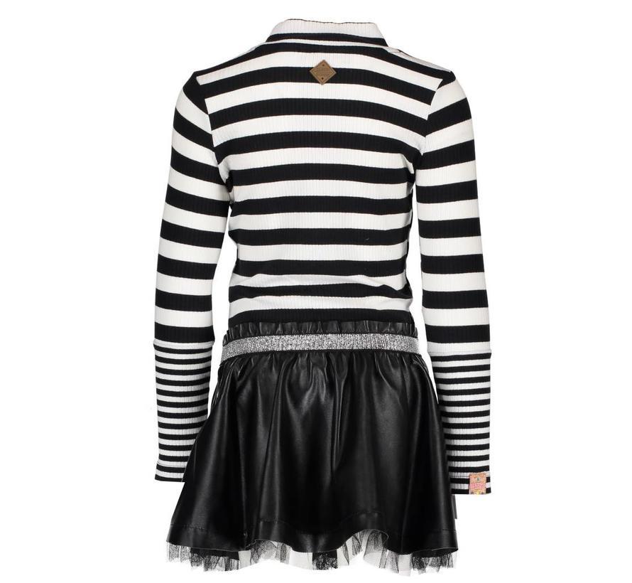 Y810-5807 jurk zwart streep