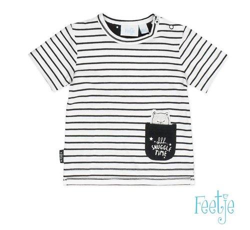 Feetje 51700421 T-shirt k/m streep black Made with love