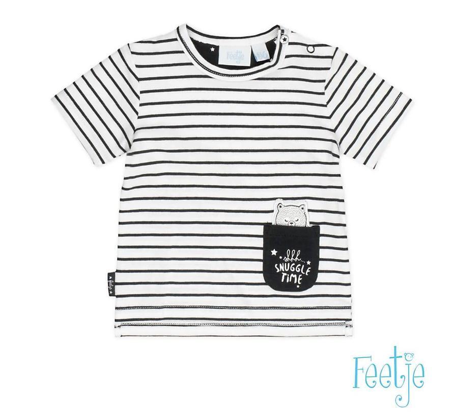 51700421 T-shirt k/m streep black Made with love