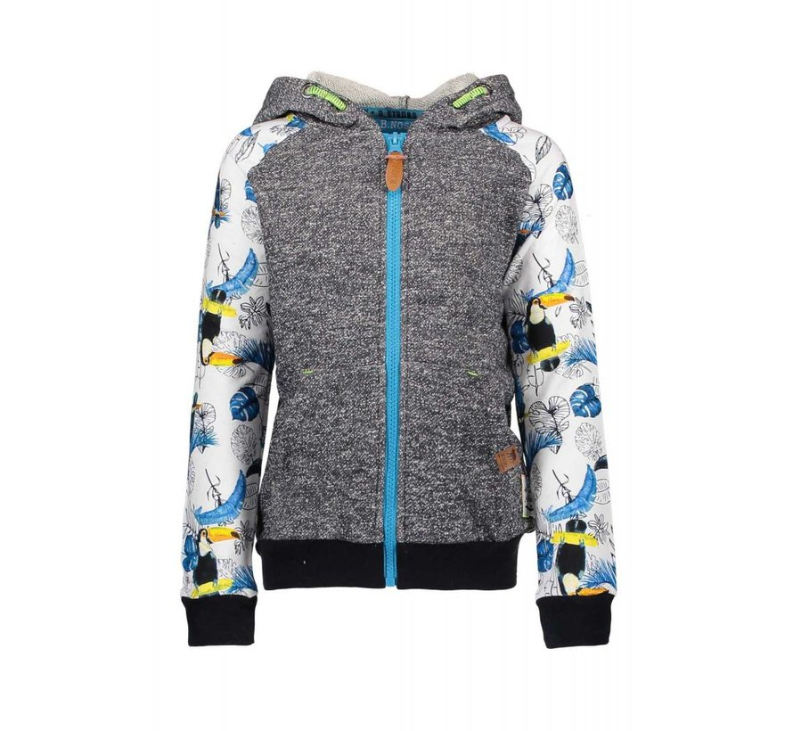 6331 982 - Toucan ecru melee AO Boys cardigan with hood