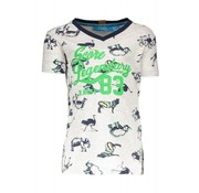 B.NOSY 6421 983 - AO white africa animals Boys africa print v-neck