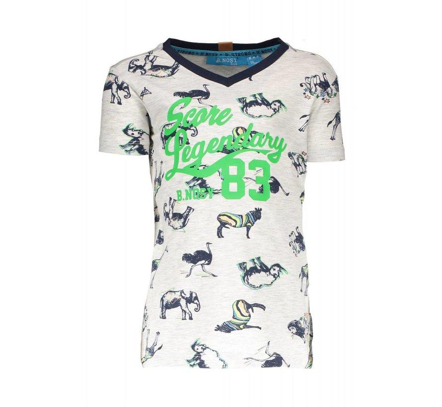 6421 983 - AO white africa animals Boys africa print v-neck