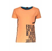 B.NOSY 6433 526 - Neon orange Boys shirt with print