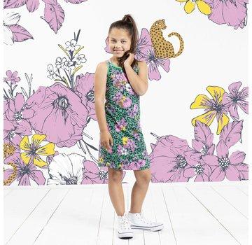 Quapi Simay dress green flower leopard