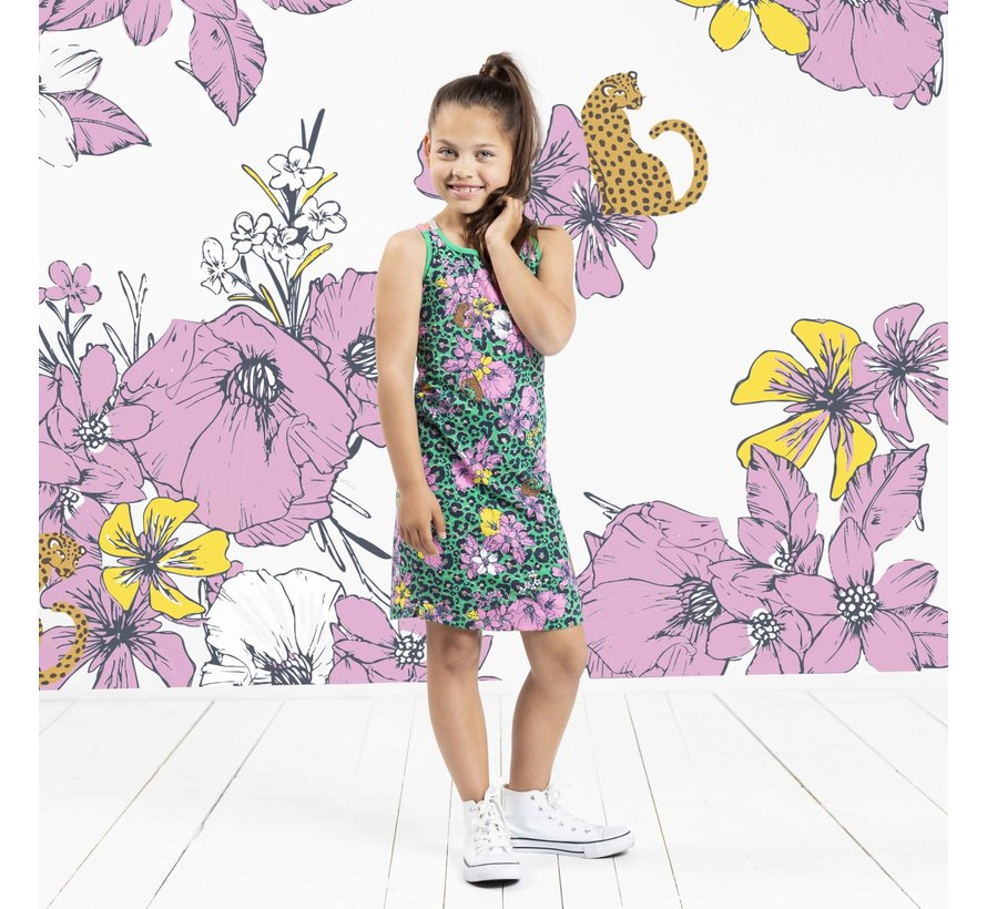 Simay dress green flower leopard