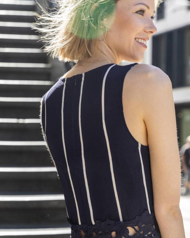 Striped Lace Detail Jumpsuit