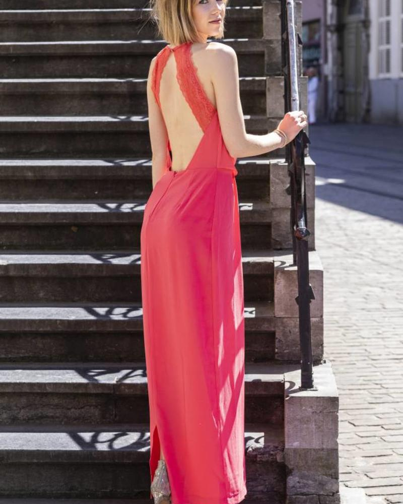 Classy Lace Back Dress Coral