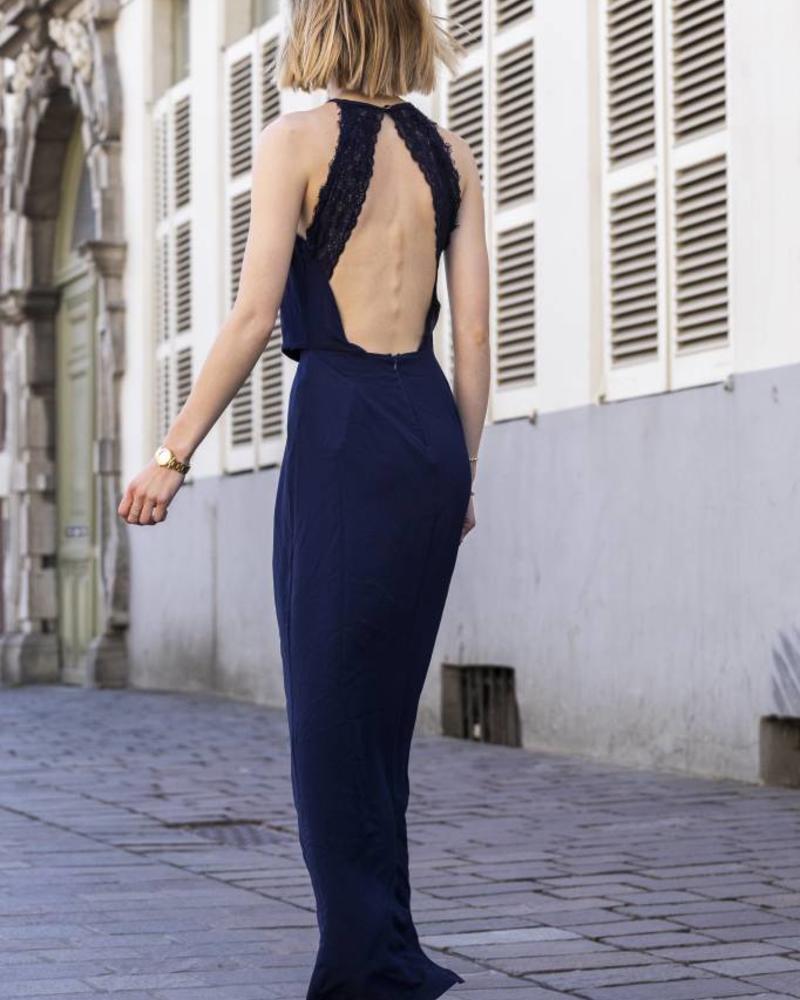 Classy Lace Back Dress Navy