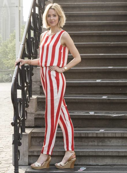 Red Stripes Jumpsuit