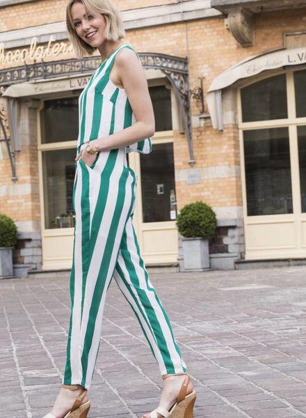 Green Stripes Jumpsuit