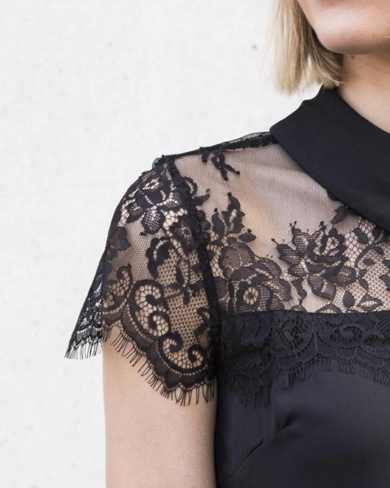 Lace Collar Top Black