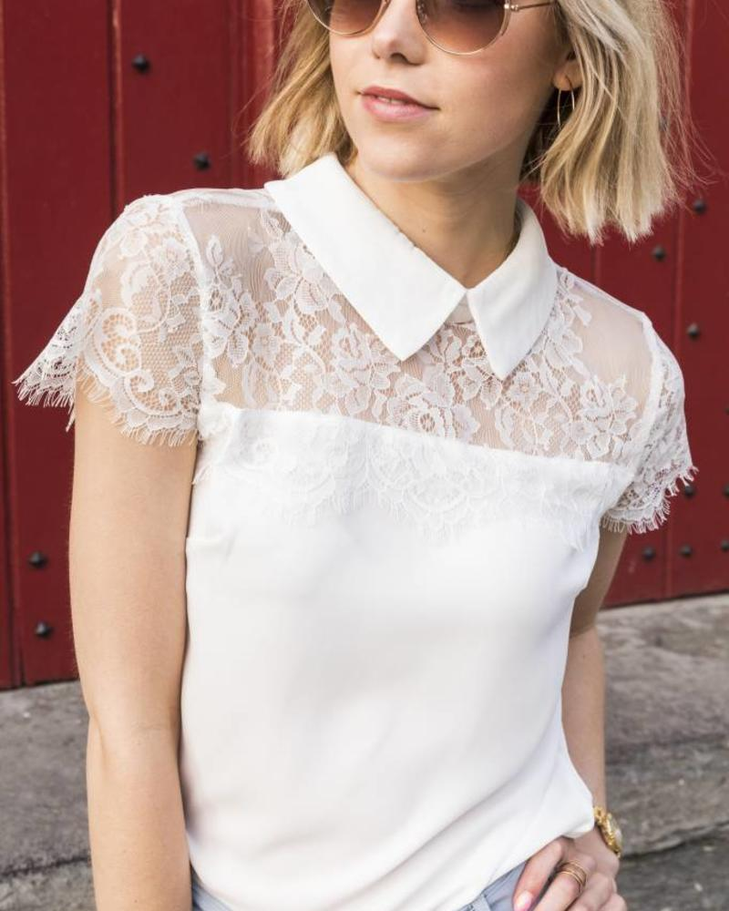 Lace Collar Top White 1372
