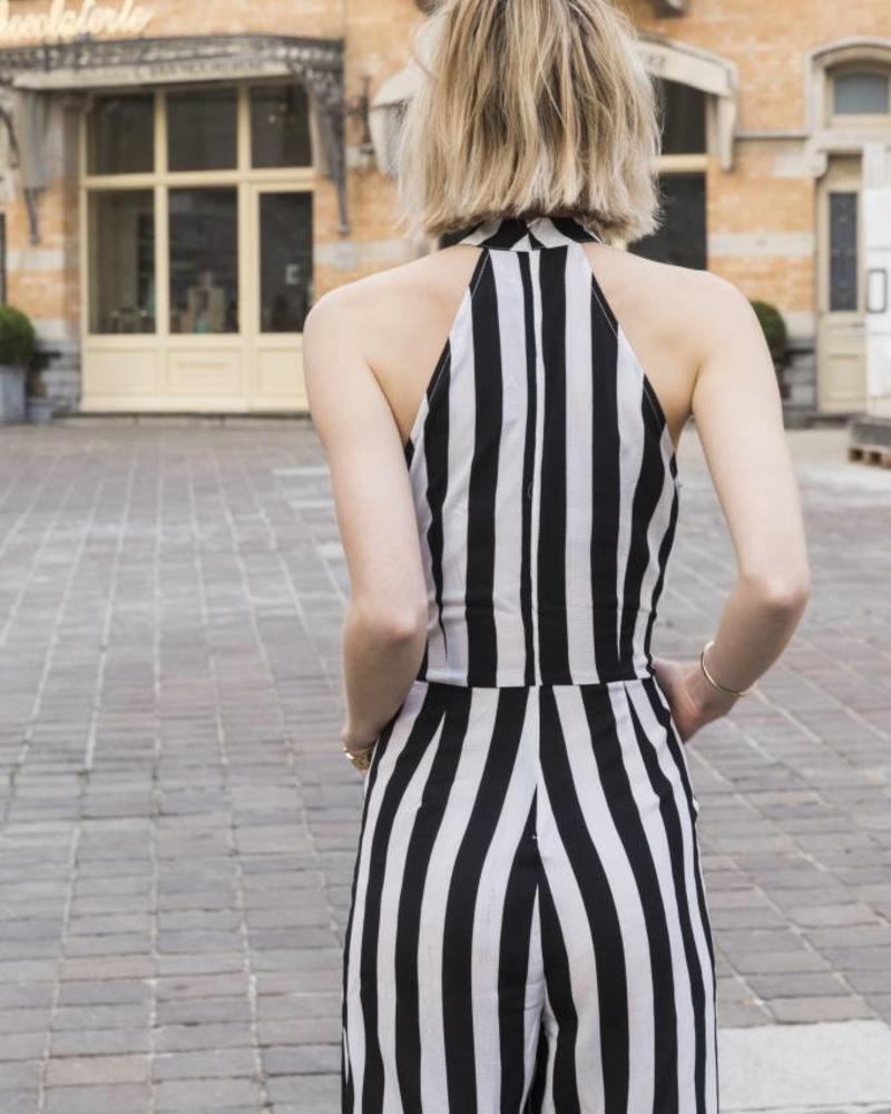 Black White Striped Jumspuit