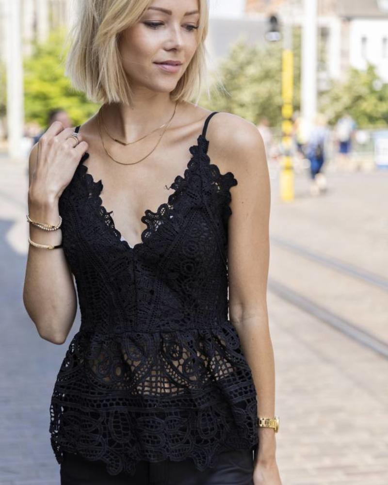Crochet Boho Top Black