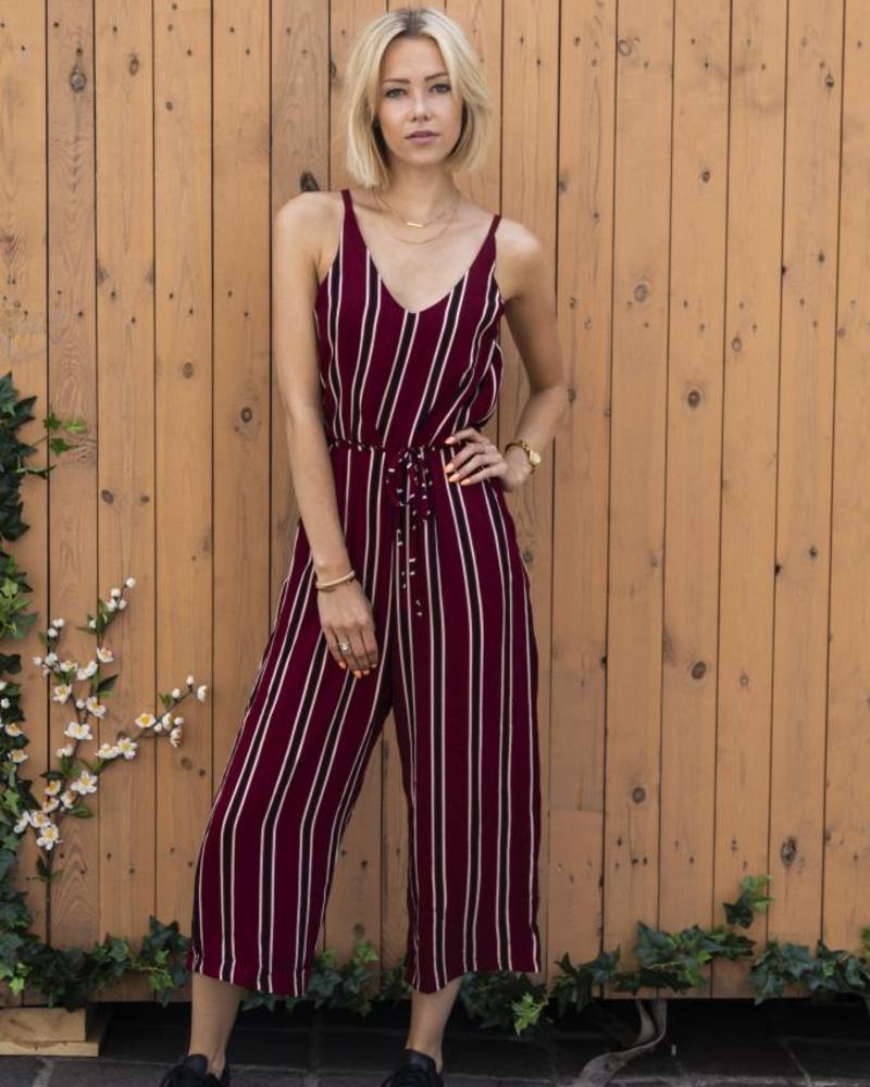 Striped Red Jumpsuit