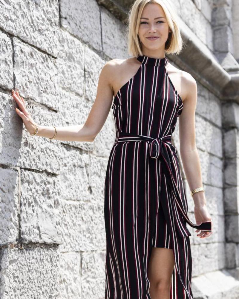 Classy Black Striped Dress
