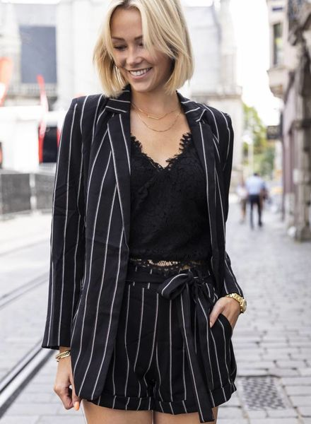 Striped Blazer Black
