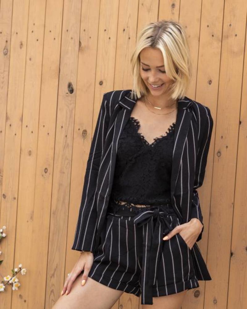 Striped Blazer Black