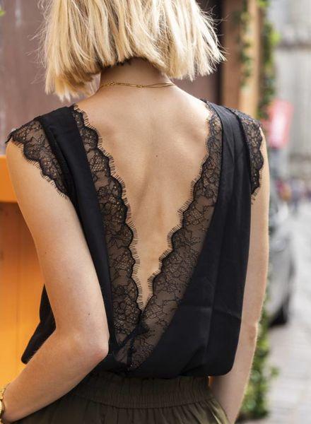 Open lace back top Black