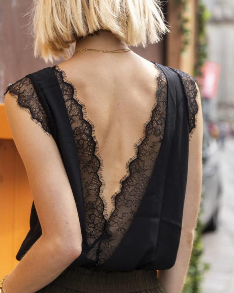Open lace back top Black