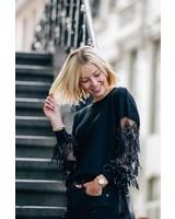 Black Sequin Sleeve Sweater
