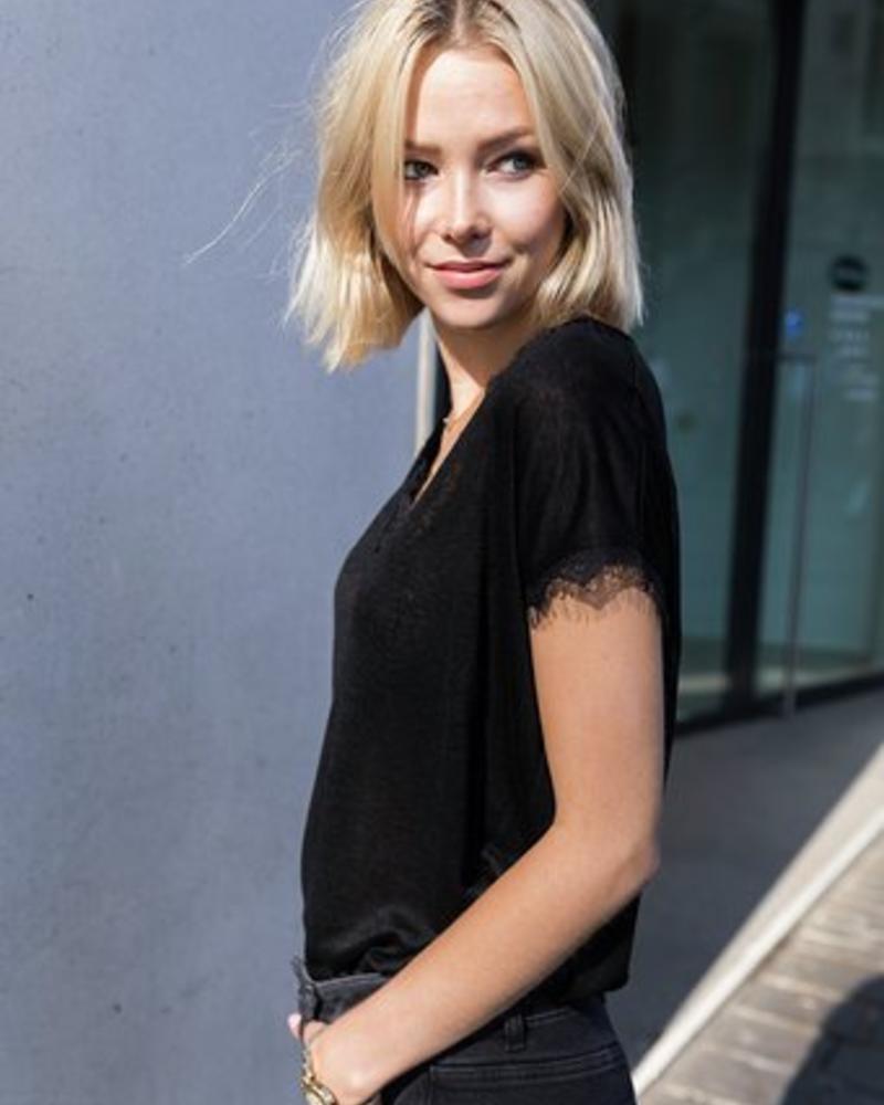 Basic Lace T-shirt Black