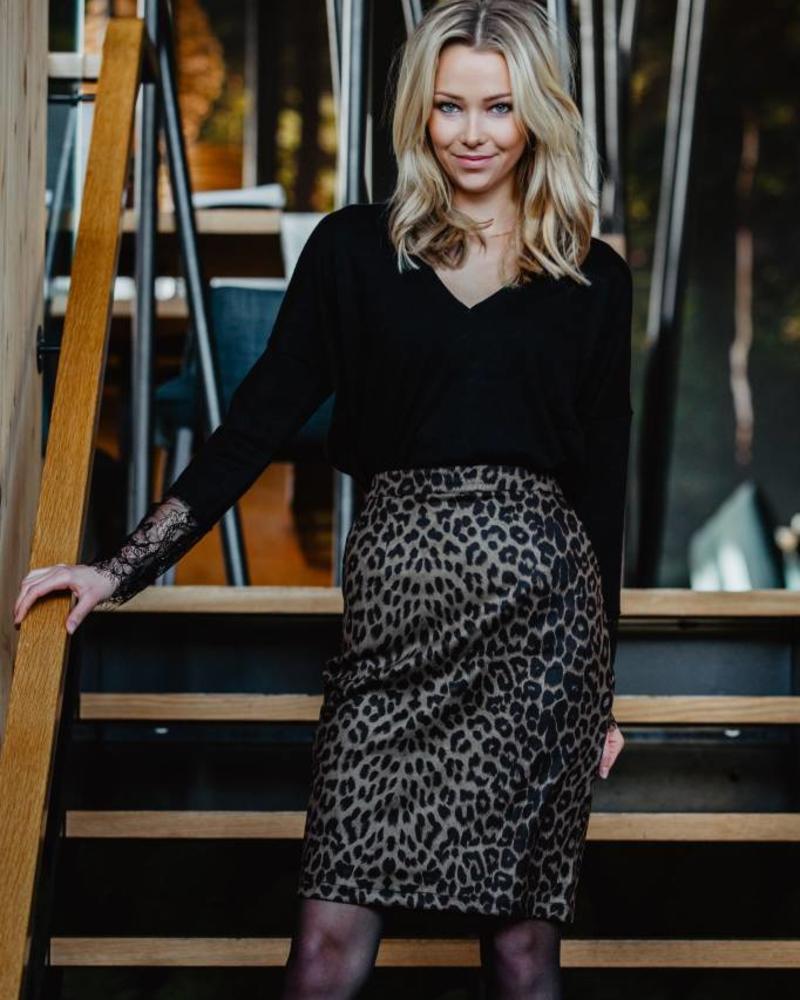 Midi Leopard Skirt