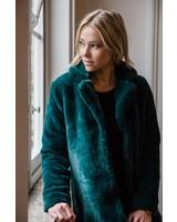 rut and circle Long Faux Fur Coat