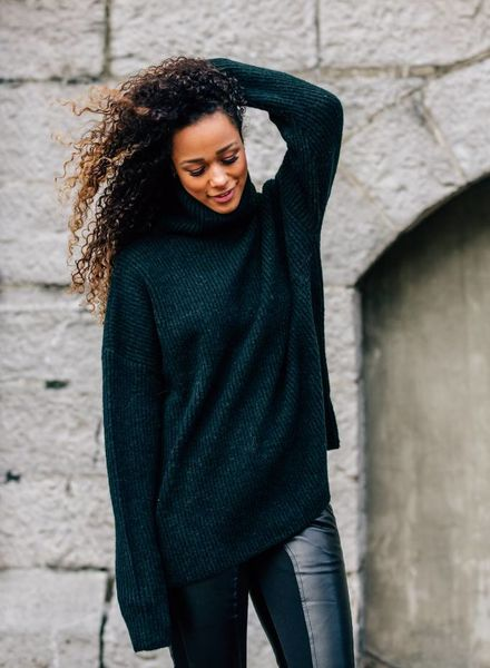 Comfy Collar Sweater Green