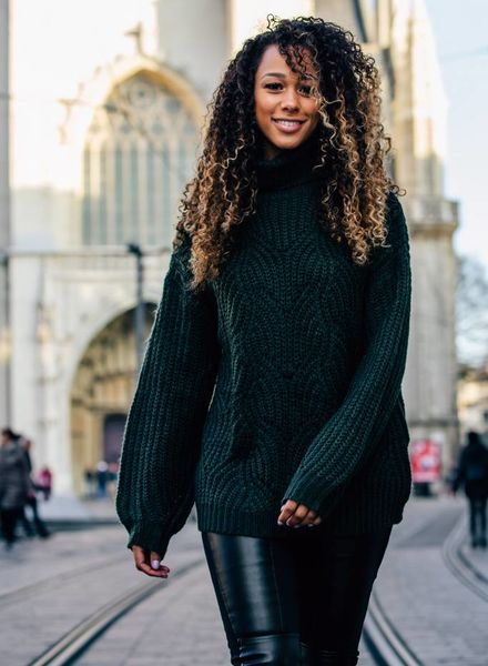 Woven Collar Sweater Green