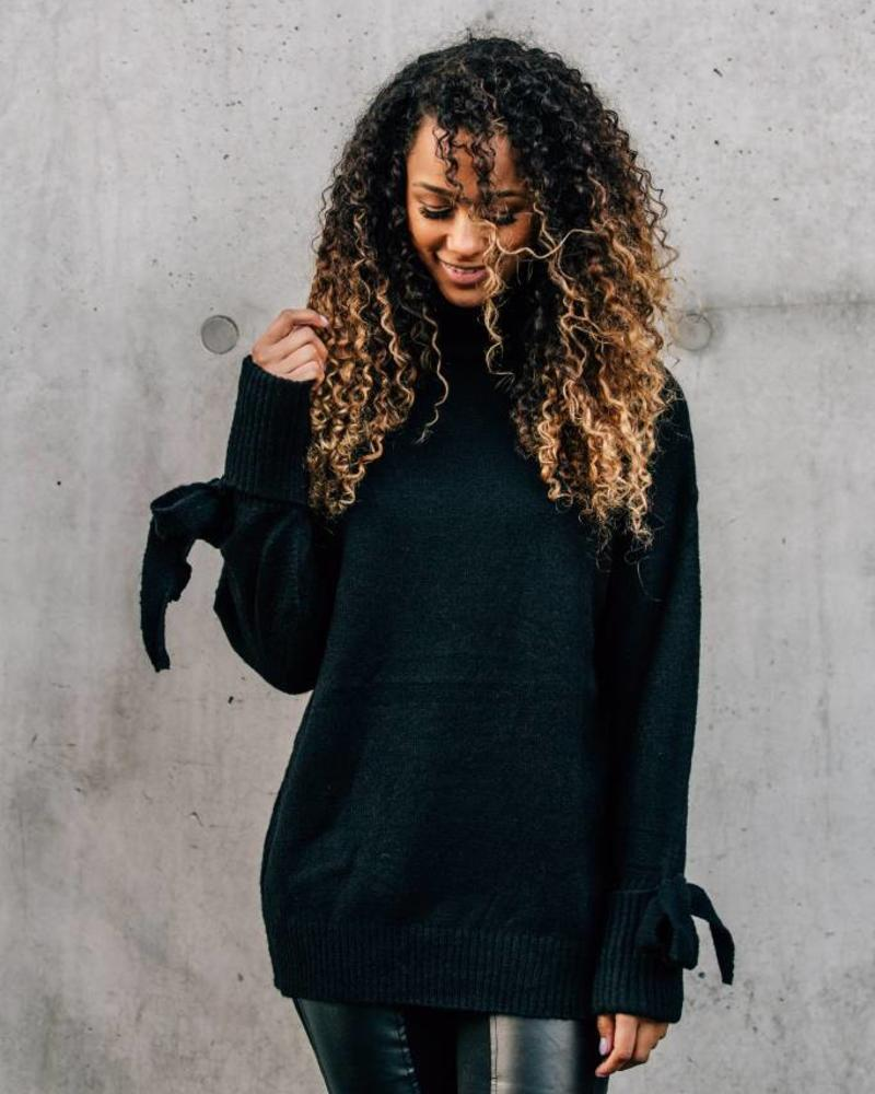 Collar Sweater Sleeve Detail Black