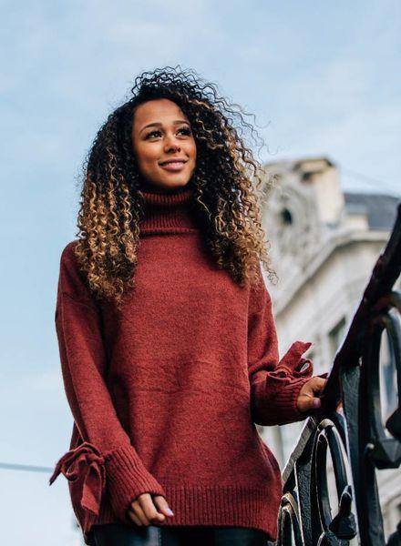 Collar Sweater Sleeve Detail Brique