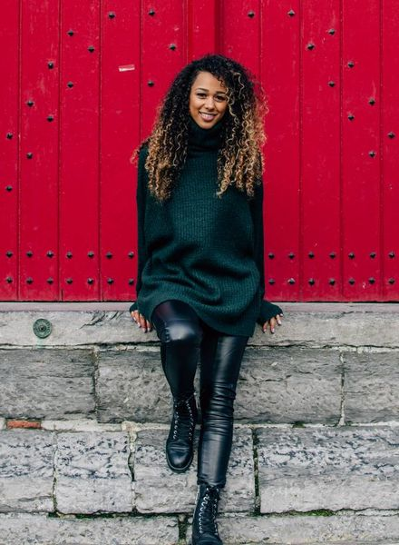 Long Collar Sweater Green