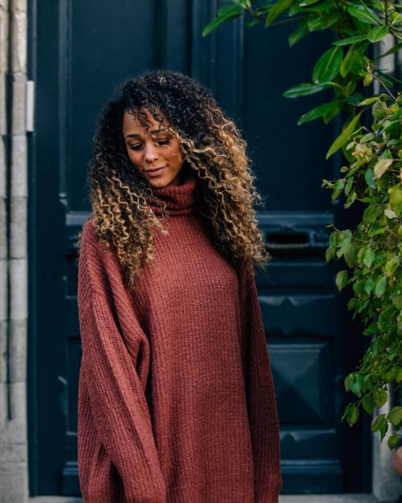 Long Collar Sweater Brique