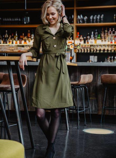Classy Button Dress Kaki