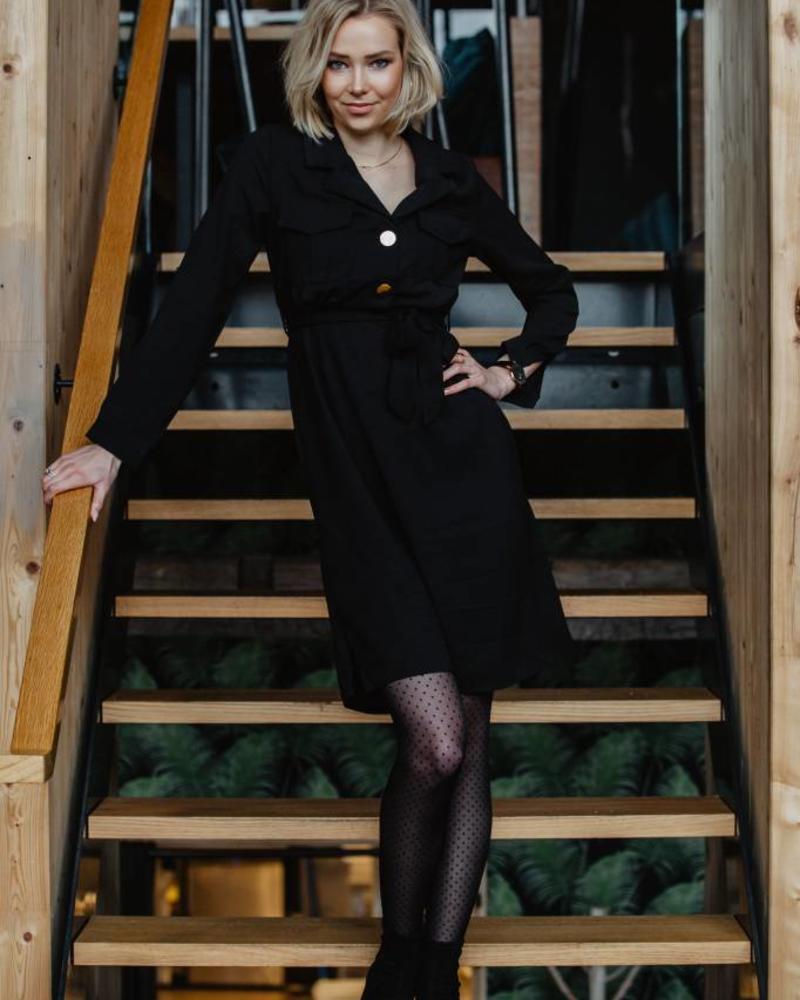 Classy Button Dress Black