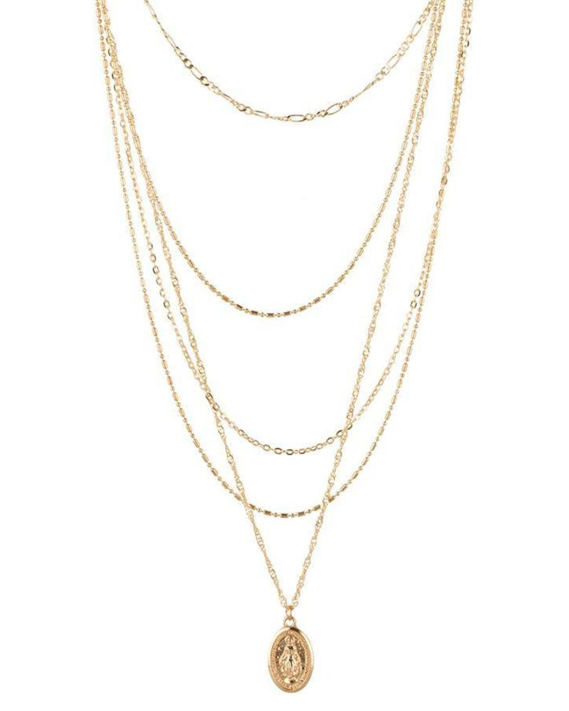 Layered Amulet Necklace Goud